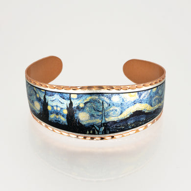 Copper Art Cuff - Van Gogh Starry Night - UrbanroseNYC