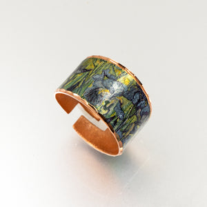 Copper Art Ring - Van Gogh Irises - UrbanroseNYC