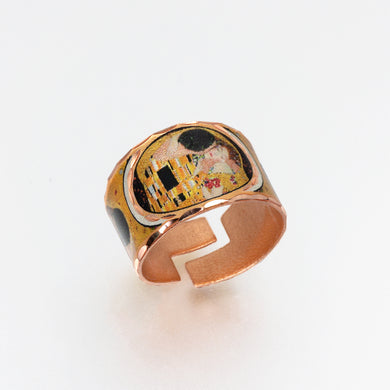 Copper Art Ring - Klimt - The Kiss - UrbanroseNYC