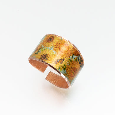 Copper Art Ring - Van Gogh Sunflowers - UrbanroseNYC