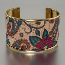 Load image into Gallery viewer, Portuguese Cork Channel Cuff - Paisley Floral - UrbanroseNYC
