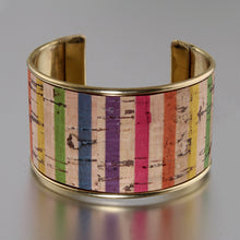 Load image into Gallery viewer, Portuguese Cork Channel Cuff - Color Stripes - UrbanroseNYC