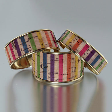Portuguese Cork Channel Cuff - Color Stripes - UrbanroseNYC