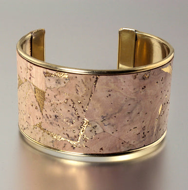 Portuguese Cork Channel Cuff - Natural, Metallic Gold - UrbanroseNYC