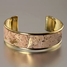 Load image into Gallery viewer, Portuguese Cork Channel Cuff - Natural, Metallic Gold - UrbanroseNYC