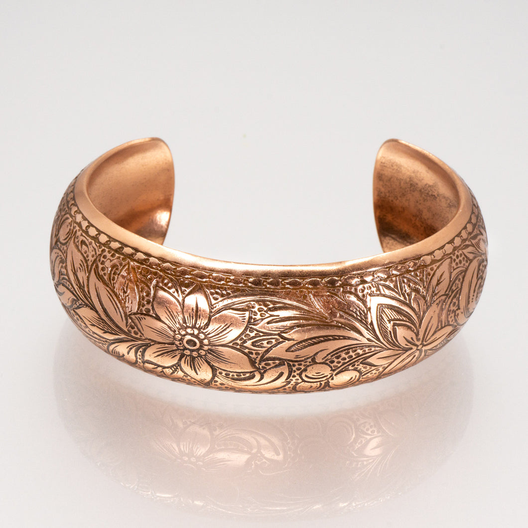 Solid Copper Domed Cuff - Daisy Design - UrbanroseNYC