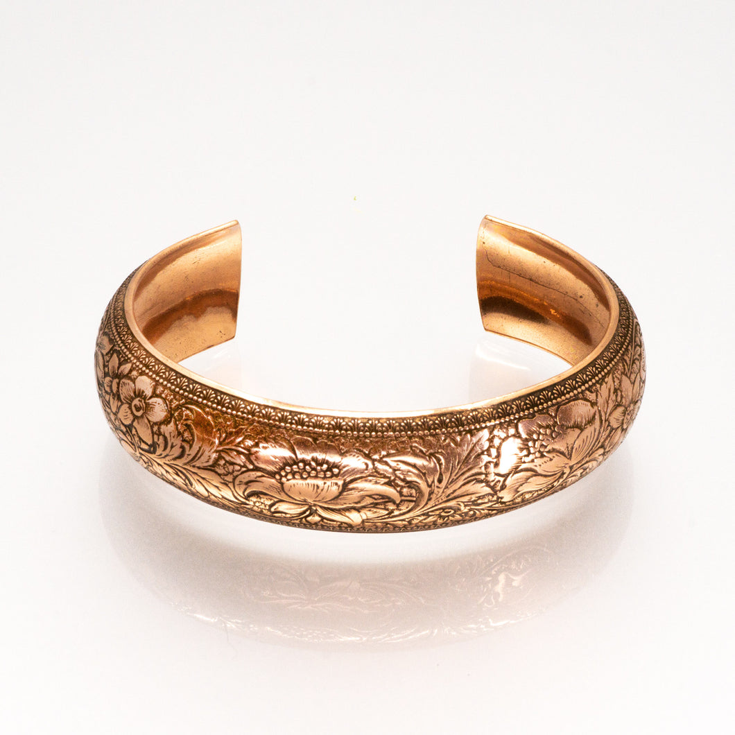 Solid Copper Domed Cuff - Flower Design - UrbanroseNYC