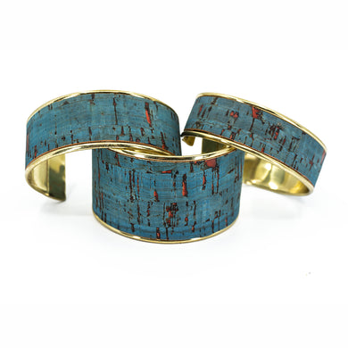 Portuguese Cork Channel Cuff - Rustic Denim, Red Flecks - UrbanroseNYC