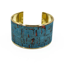 Load image into Gallery viewer, Portuguese Cork Channel Cuff - Rustic Denim, Red Flecks - UrbanroseNYC