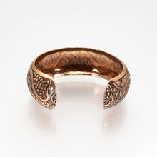 Load image into Gallery viewer, Solid Copper Domed Cuff - Grape & Leaves Design - UrbanroseNYC