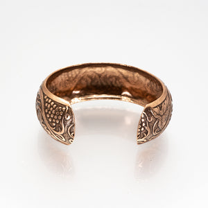 Solid Copper Domed Cuff - Grape & Leaves Design - UrbanroseNYC