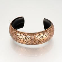 Load image into Gallery viewer, Solid Copper Domed Cuff - Rose Design - UrbanroseNYC