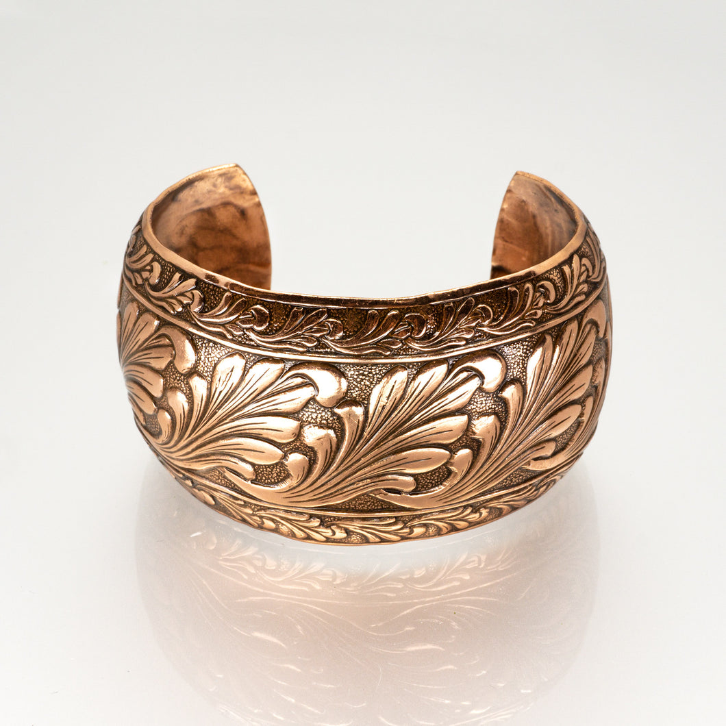 Solid Copper Domed Cuff - Scroll Design - UrbanroseNYC