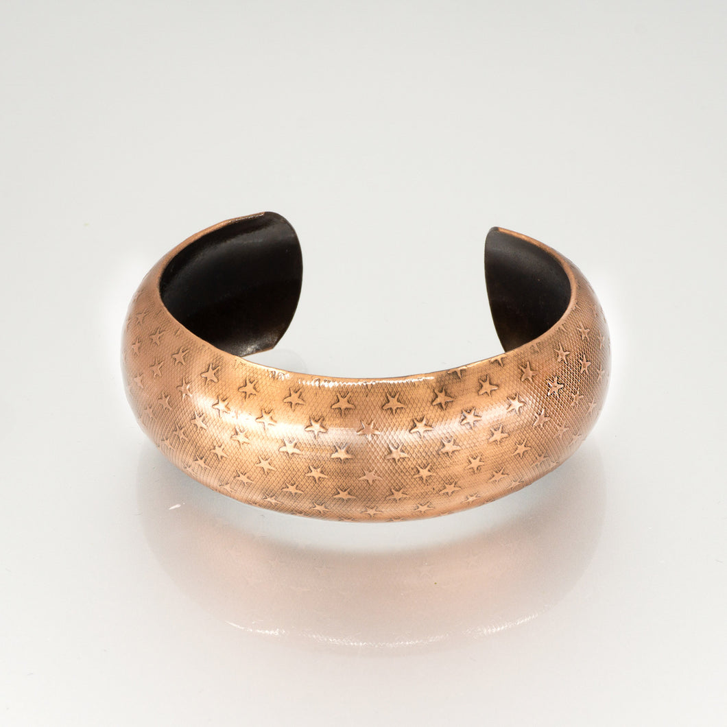 Solid Copper Domed Cuff - Star Design - UrbanroseNYC
