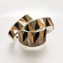 Load image into Gallery viewer, Portuguese Cork Channel Cuff - Geometric Metallic Print - UrbanroseNYC