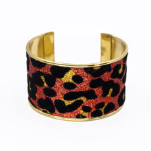 Load image into Gallery viewer, Glitter Cuff Bracelet - Leopard Print, Red - UrbanroseNYC