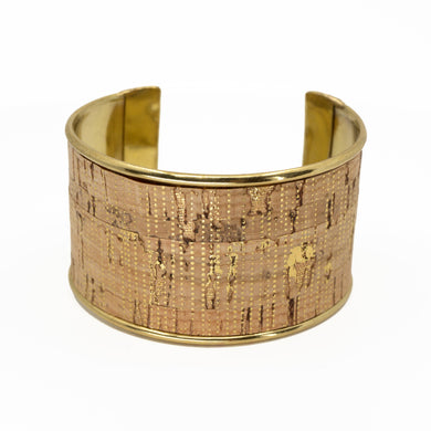 Portuguese Cork Channel Cuff - Metallic Gold Stripes - UrbanroseNYC