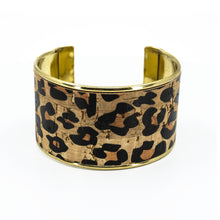 Load image into Gallery viewer, Portuguese Cork Channel Cuff - Leopard Print - UrbanroseNYC