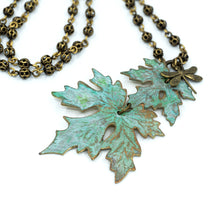 Load image into Gallery viewer, Patina Maple Leaf Necklace - Double Leaf - UrbanroseNYC