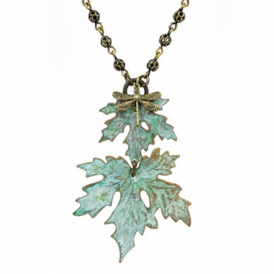 Patina Maple Leaf Necklace - Double Leaf - UrbanroseNYC