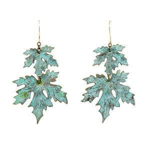 Patina Maple Leaf Earrings - UrbanroseNYC