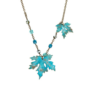 Patina Maple Leaf Necklace - UrbanroseNYC