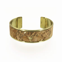 Load image into Gallery viewer, Portuguese Cork Channel Cuff - Metallic Gold Marble - UrbanroseNYC
