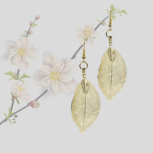 Mini Real Leaf Earrings - Gold - UrbanroseNYC