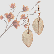 Load image into Gallery viewer, Mini Real Leaf Earrings - Rose Gold - UrbanroseNYC