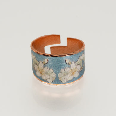 Copper Art Ring - Van Gogh Almond Blossoms - UrbanroseNYC