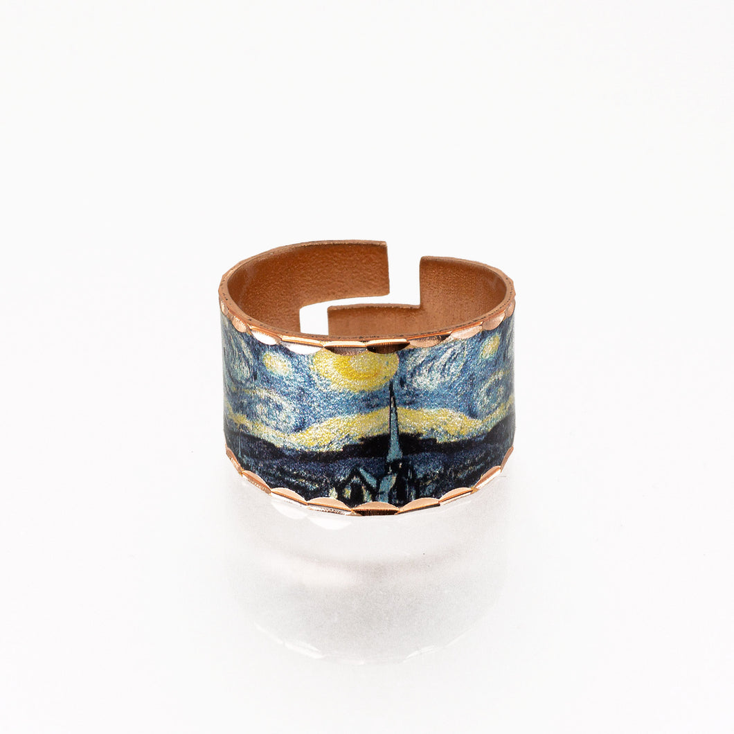 Copper Art Ring - Van Gogh Starry Night - UrbanroseNYC