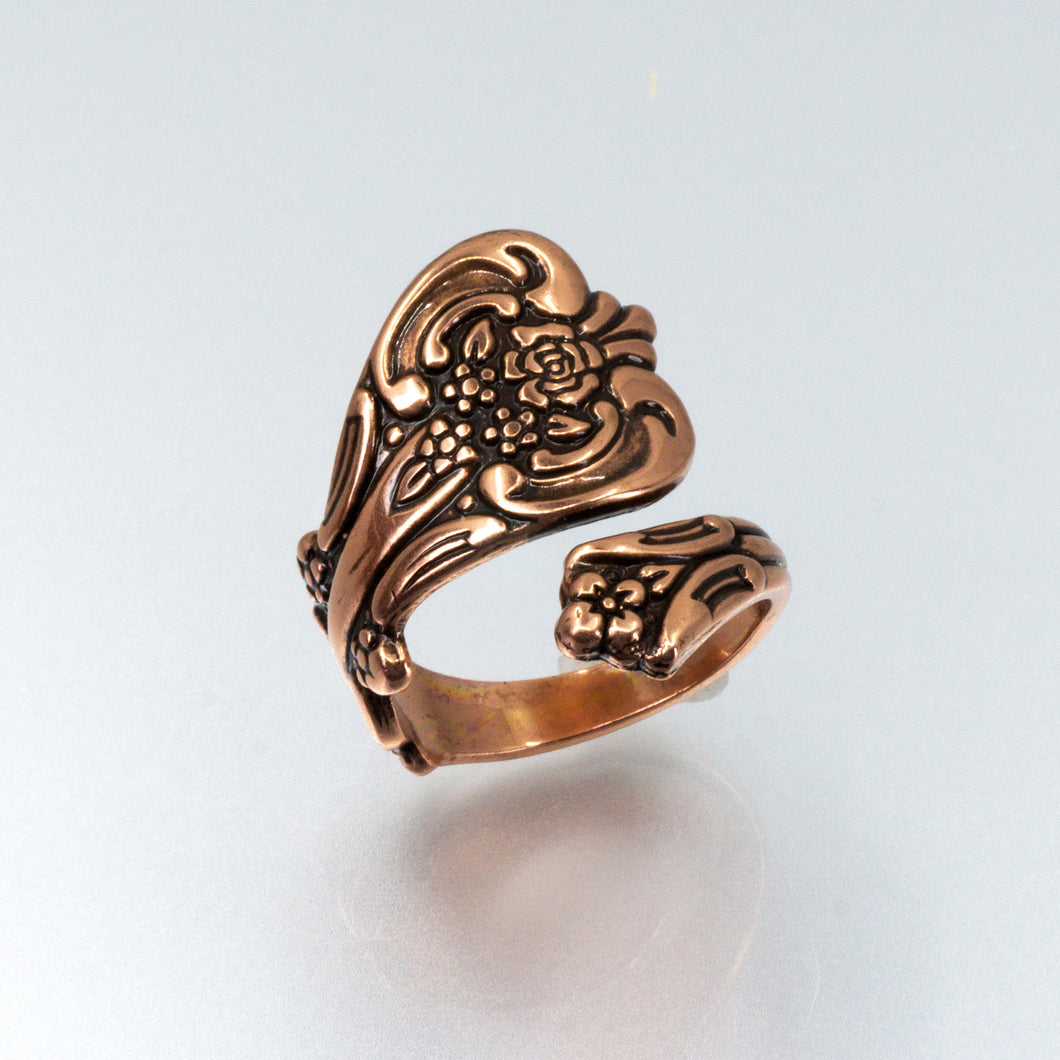 Solid Copper Spoon Ring - Floral Design - UrbanroseNYC