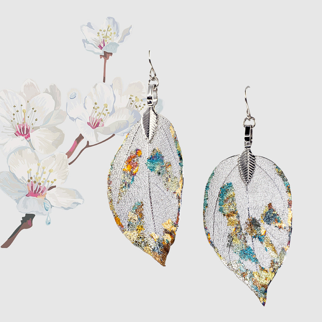 Real Leaf Earrings - Gilded, Silver - UrbanroseNYC