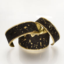 Load image into Gallery viewer, Portuguese Cork Cuff Bracelet - Black, Marbled Metallic Gold - UrbanroseNYC