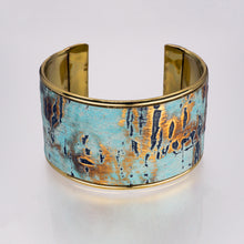 Load image into Gallery viewer, Leather Cuff Bracelet - Turquoise Driftwood, Gold Metallic - UrbanroseNYC