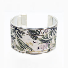 Load image into Gallery viewer, Portuguese Cork Channel Cuff - White, Foliage - UrbanroseNYC