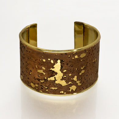 Portuguese Cork Channel Cuff - Cocoa, Marbled Metallic Gold - UrbanroseNYC