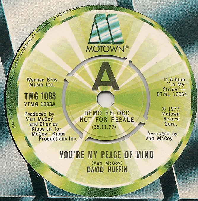 David Ruffin ‎– You're My Peace Of Mind - Promo