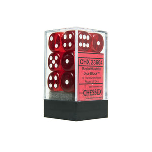 Chessex Dice: Translucent - 16mm D6 Red/White (12)