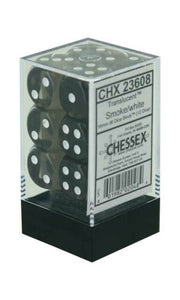 Chessex Dice: Translucent - 16mm D6 Smoke/White (12)