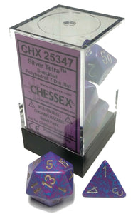Chessex Dice: Speckled Polyhedral Set Silver Tetra (7)