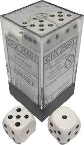 Chessex Dice: Opaque - 16mm D6 White/Black (12)