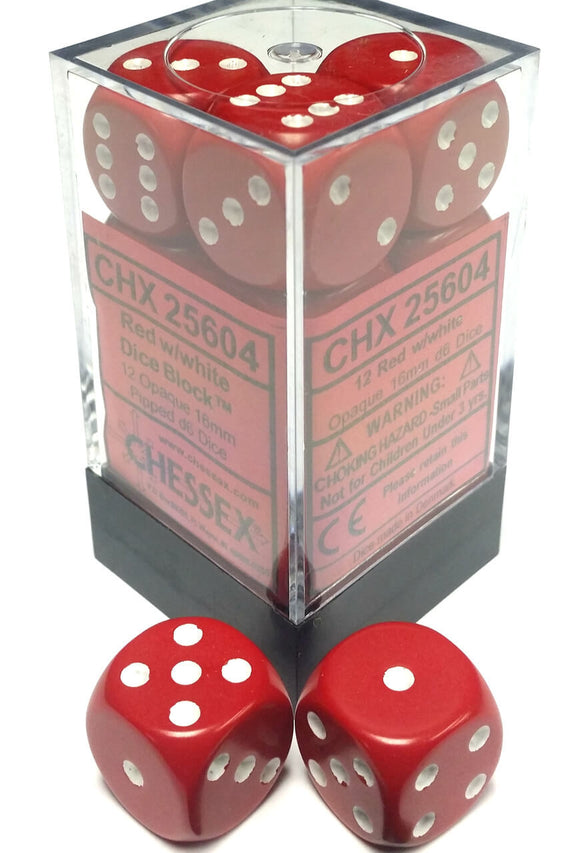 Chessex Dice: Opaque - 16mm D6 Red/White (12)