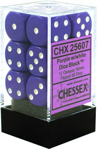 Chessex Dice: Opaque - 16mm D6 Purple/White (12)