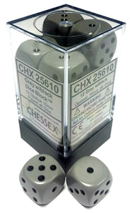 Chessex Dice: Opaque - 16mm D6 Grey/Black (12)