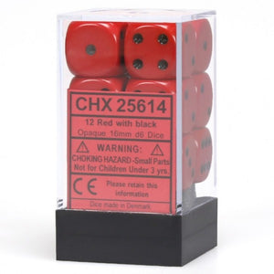 Chessex Dice: Opaque - 16mm D6 Red/Black (12)