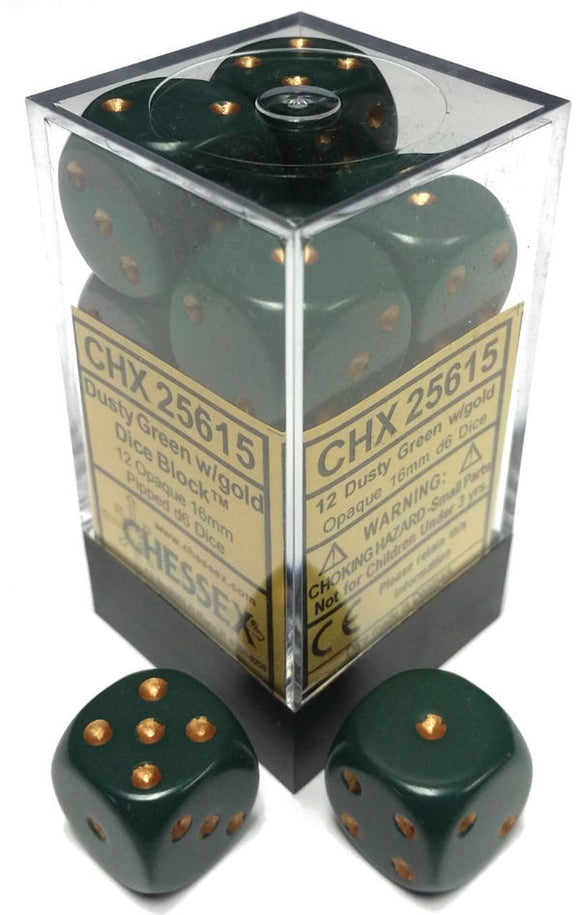Chessex Dice: Opaque - 16mm D6 Dusty Green/Copper (12)