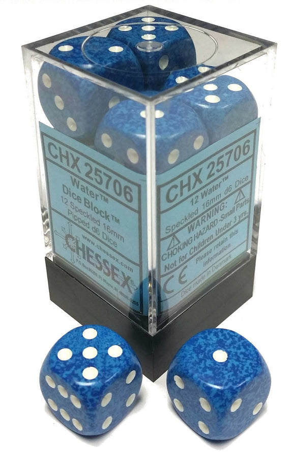 Chessex Dice: Speckled - 16mm D6 Water (12)