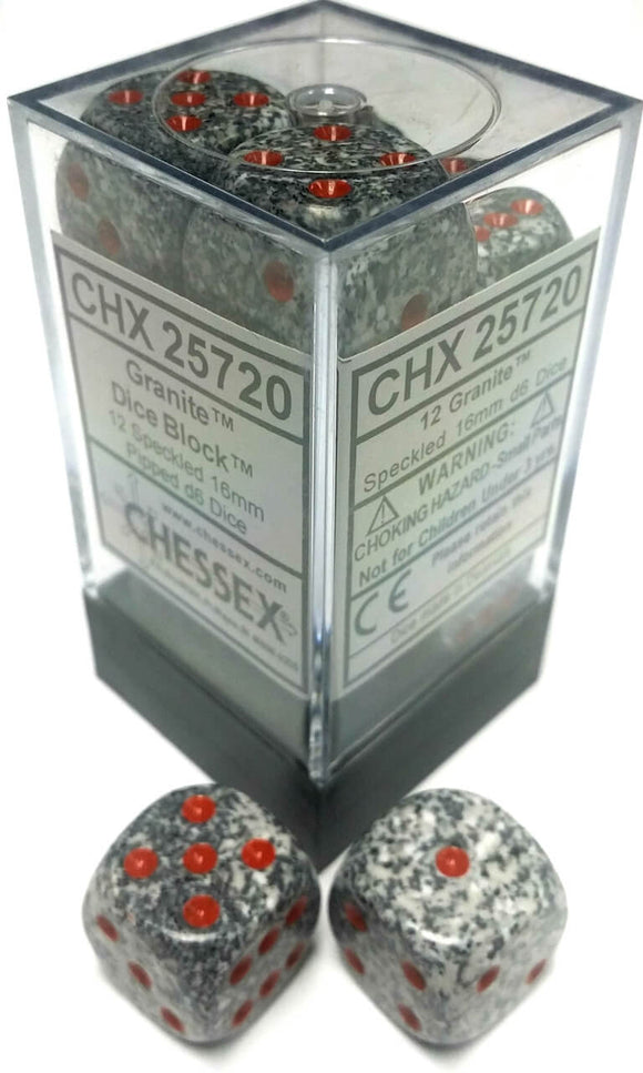 Chessex Dice: Speckled - 16mm D6 Granite (12)