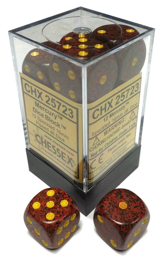 Chessex Dice: Speckled - 16mm D6 Mercury (12)